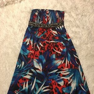 BEBE maxi dress! These colors will turn heads!